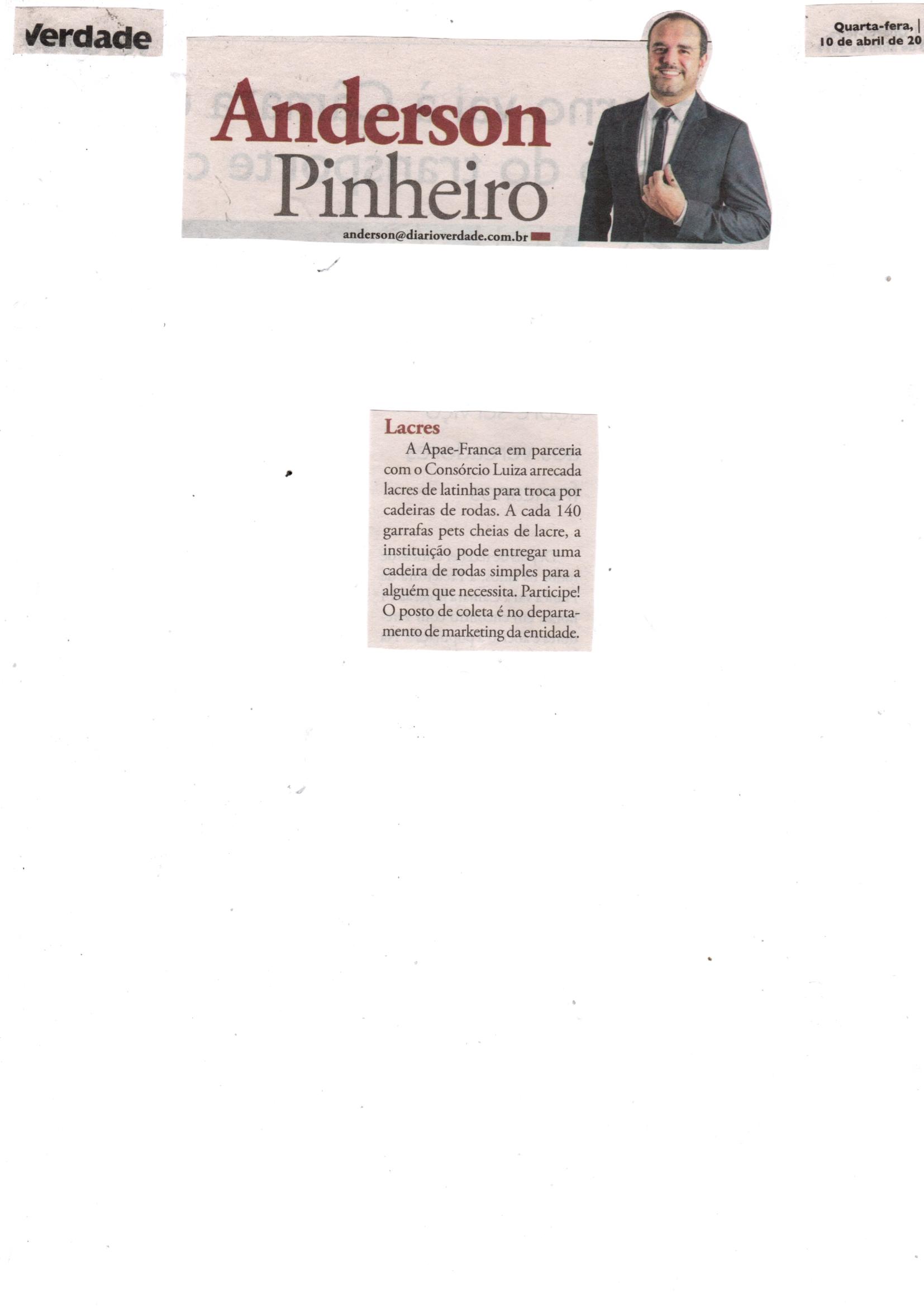 411ed9dab 10/04/19 - DIÁRIOVERDADE - Coluna Anderson Pinheiro - Lacres de latinha -  100419-diariover.